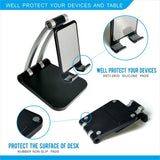 "Universal Adjustable Angle Desktop Stand for Smartphones & Tablets (From 4"" to 12.9"") - Foldable"