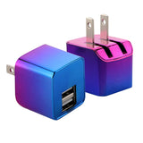LAX Dual USB Wall Charger - Ultra Compact, Travel Friendly - Iridescent Chrome
