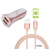 Durable Braided Micro USB Cable (10ft) with 2 USB Port High Speed Car Charger Combo Pack