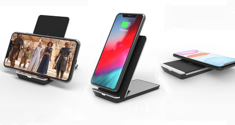 Folding 10W Wireless Charger Stand - Black / Silver