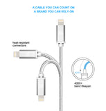 [2 Pack] iPhone charger, LAX Gadgets Lightning to USB Braided Cable (4ft) for iPhone 6s 6 Plus 5s 5c 5, iPad Pro Air 2, mini [Apple MFi Certified] (Gray)