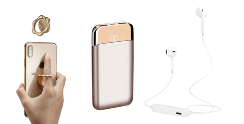 Commute Bundle: Dual USB 12,000mAh Power Bank with Smart Display with Wireless Earphones and Ring Phone Stand