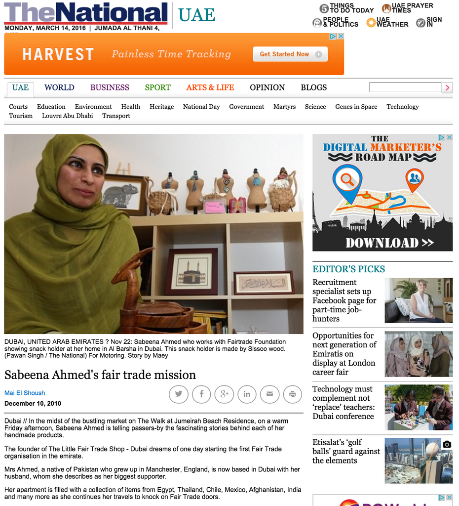 Sabeena Ahmed's fair trade mission