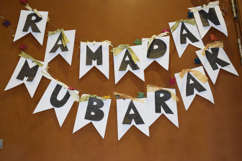 Ramadan Mubarak Handmade Banner - The Little Fair Trade Shop, Dubai, UAE