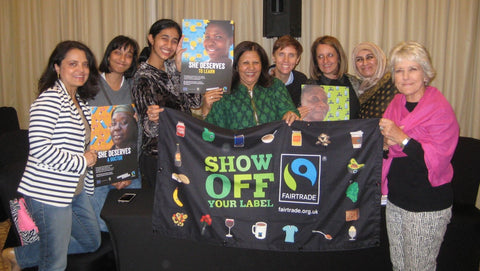 Sabeena Ahmed with fairtrade supporters celebrating Fairtrade Fortnight 2019, Dubai, UAE - The Little Fair Trade Shop