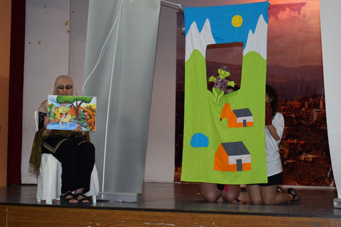 Sabeena Ahmed and Movement Sociale presenting a fairtrade puppet show Fairis The Frog and Chalaak the Monkey, Baskinta, Lebanon - June 2016
