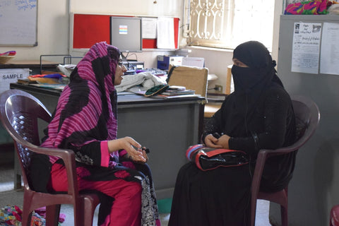 The Little Fair Trade Shop interviewing business woman and designer Yasmeen at the Ra'ana Liaquat Craftmans Colony, Karachi, Pakistan - March 2015