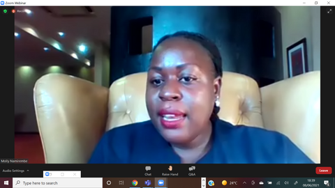 Molly Namirembe, anchor of the World Against Child Labour 2021 webinar