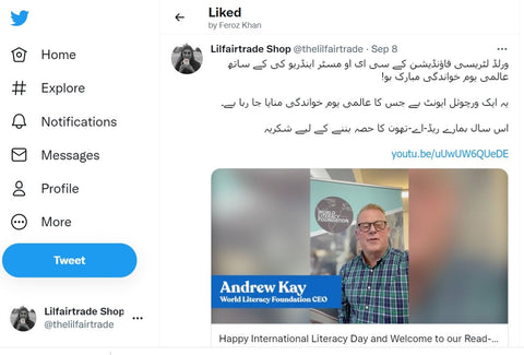 Twitter Post in Urdu for International Literacy Day 2021 with Sabeena Z Ahmed