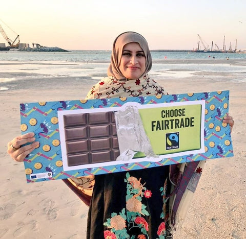 Sabeena Ahmed celebrates Fairtrade Fortnight 2020, Dubai, UAE - Fairtrade Resource Large Chocolate Bar, She Deserves Campaign