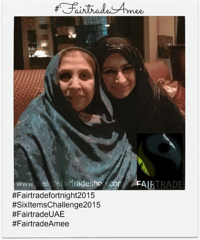 Mrs Meshar Mumtaz Bano with Sabeena Ahmed celebrating Fairtrade fortnight Dubai UAE 2015