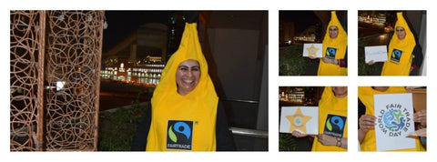 Fairtrade banana suit 'Make Fruit Campaign' with Sabeena Ahmed and The Little Fair Trade Shop