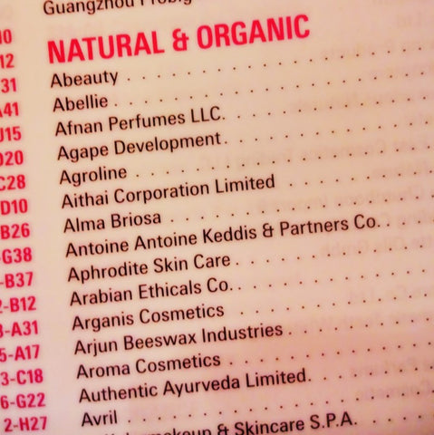 Beauty World Middle East brochure Natural and Organic section May 2017 visited by The Little Fair Trade Shop