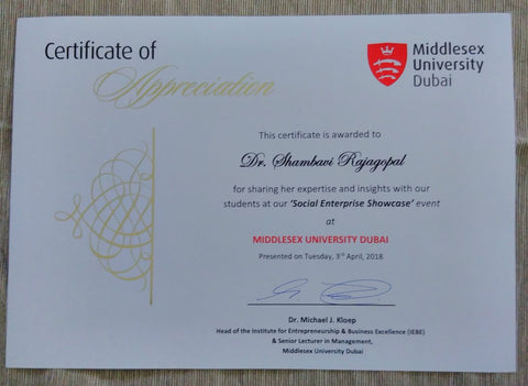 Certificate of participation for Dr Rajagopal at the Social Enterprise Showcase Middlesex University Dubai April 18