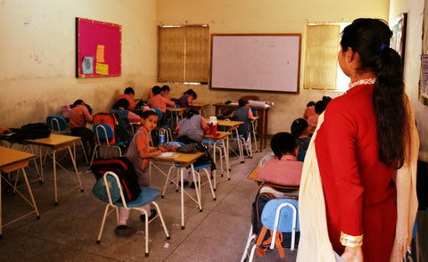 Children studying at the RLCC Karachi Pakistan with Sabeena Ahmed and The Little Fair Trade Shop