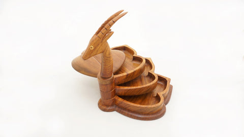 Fairtrade handmade wooden oryx sliding jewellery box produced by the Hegaza Woodcraft Group - Fair Trade Egypt