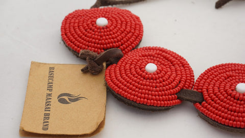 Fairtrade handmade red large button bracelet  produced by The Masaai Brand