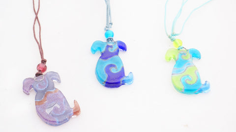 Calypso Chile recycled glass dog pendents - Sabeena Ahmed and The Little Fair Trade Shop