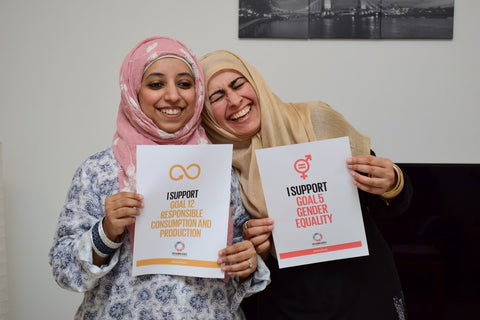 Saima Tahqiq and Sabeena Ahmed celebrate the WFTO's Anti Poverty Week Dubai, UAE