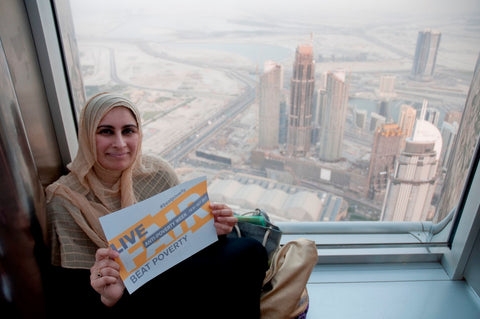 Sabeena Ahmed supporting the WFTO's Anti Poverty Week - Live Fair Beat Poverty Campaign (At the top Burj Khalifa) Oct 17