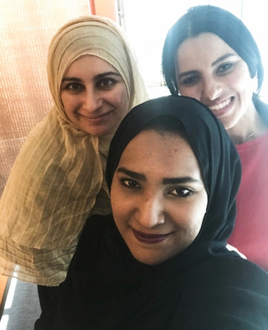Sabeena Ahmed with Asma and Maryam - Badiri Social Enterprise Programme Cohort 1 2018 (BSEP, NAMA, SSE London)