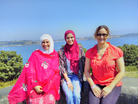 Sabeena Ahmed with Ayesha and Najat - Pendennis Castle, Falmouth, Cornwall, UK, August 2018