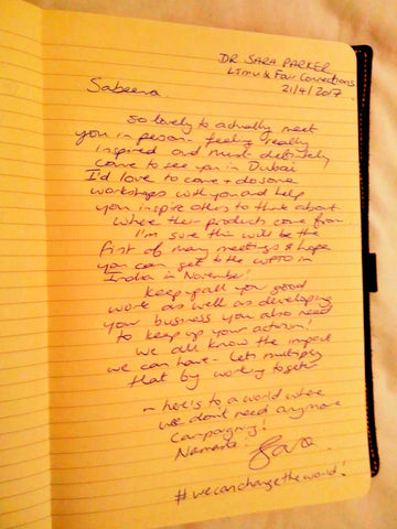 Dr Sara Parkers comments in The Little Fair Trade Guest book - April 17 Manchester UK