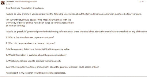 Initial email to the Fairtrade Foundation about my fairtrade banana suit - Sabeena Ahmed