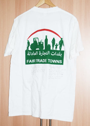 Fair Trade Lebanon T-shirt - International Fair Trade Towns T-shirt signed by the international fairtrade towns coordinators, Baskinta Lebanon 2016 with Sabeena Ahmed