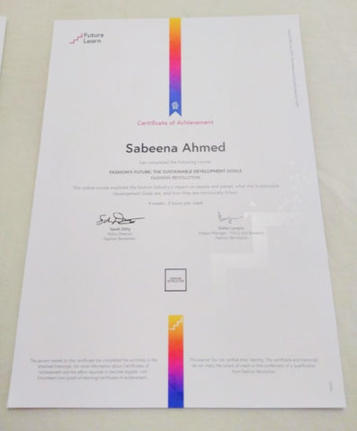 Certificate, Future Learn MOOC Fashion's Future and the Sustainable Development Goals - Sabeena Ahmed