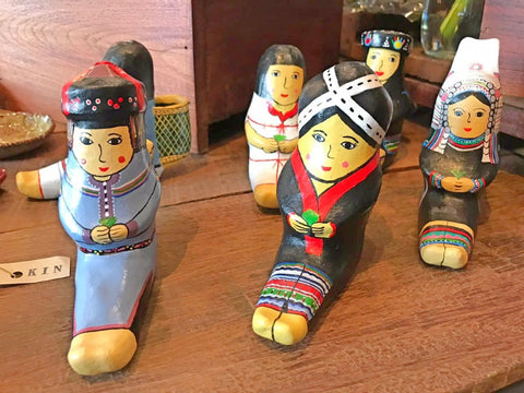 Hand painted Thai doorstops decor at the Heritage Craft and Cafe Bangkok