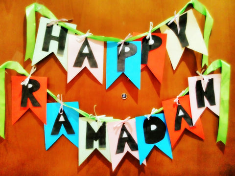 Happy Ramadan Banner using recycled paper loving made by The Little Fair Trade Shop June 2016