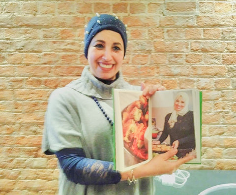 An Evening with Heart & Parcel, Hanane from Morocco promoting the cookbook and her baked white fish, prawn and noodle parcel recipe, visited December 2019