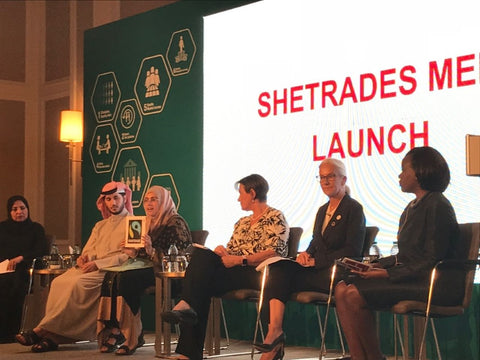 SHETRADES MENA LAUNCH DUBAI - Sabeena Ahmed of The Little Fair Trade Shop displaying the Fair Trade Mark