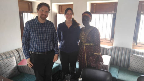 Isatou Ceesay with Aedan and Flora at the Emirates Literature Foundation, Dubai, UAE, March 2019 with Sabeena Ahmed