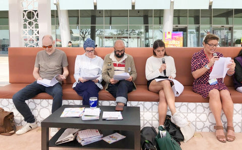 Sabeena Ahmed, Deborah, Padmini, Brenda, Edwige, Tvisha, Ashwarya, Julia and Alex Broun, new playwrights at the Emirates Literature Festival March 2019 Dubai UAE