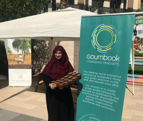 Sabeena Ahmed completed Ghaf tree planters at the Goumbook stand, Sustainability City, Dubai, UAE _ Jan 2020