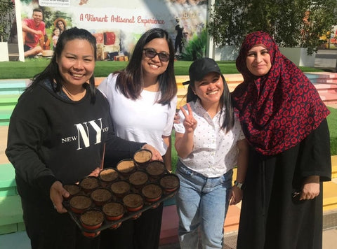 Sabeena Ahmed, with the Goumbook ladies, Proud to support Give A Ghaf Tree Initiative with Social Enterprise Goumbook, at Sustainable City, Dubai, UAE - January 2020