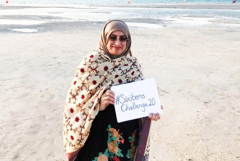 Sabeena Ahmed supporting the Six Items Challenge 2020 with Labour Behind The Label, Dubai, UAE