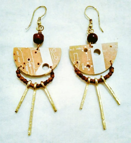 Up-cycled fairtrade circuit board earrings, decreasing electronic waste -Plastic Free July with Sabeena Ahmed