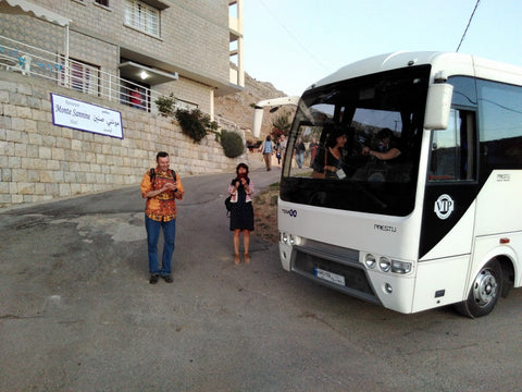 Fairtrade international coordinators boarding the bus to Baskinta