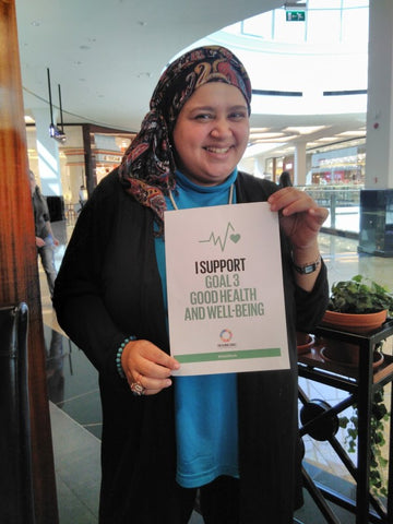 Lamya Tawfik supporting global goal 3 for Anti Poverty Week in Dubai and the UAE with the Lilfairtrade Shop