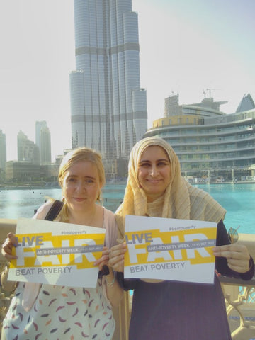 Joanna and Sabeena near the Burj Khalifa supporting the WFTO's Anti Poverty Week Campaign Live Fair Beat Poverty Oct 17