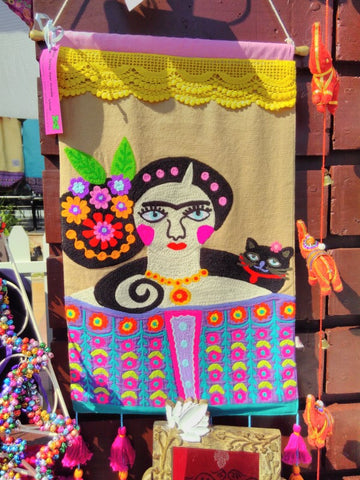 Fairtrade Frida Kahlo hand embroidered wall hanging retailed by Sabeena Ahmed and The Little Fair Trade Shop, Swiss Business Council Xmas Market Abu Dhabi 2018