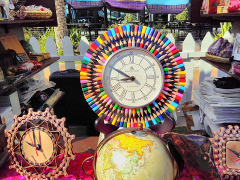 Fairtrade Recycled Pencil Clock sold by The Little Fair Trade Shop at the Swiss Business Council Xmas Market 2018 Abu Dhabi UAE
