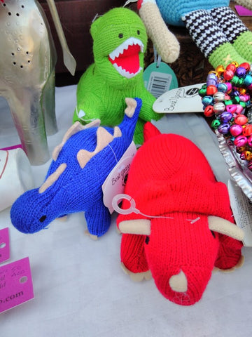 Fairtrade mini hand knitted dinosaurs at the Swiss Business Council Christmas Market, Abu Dhabi 2018