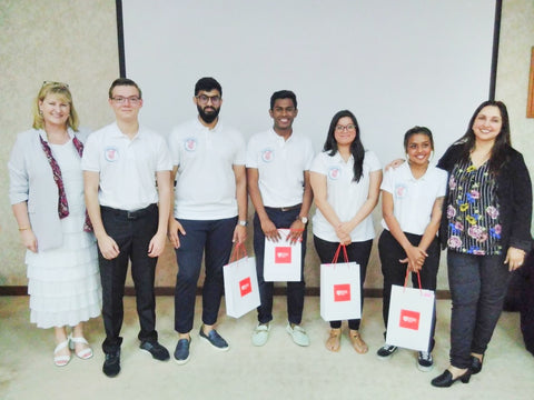 Sandra Stephenson with Shanthi Rajan and winners Pentagon at the Middlesex University Dubai  Social Enterprise Showcase April 19