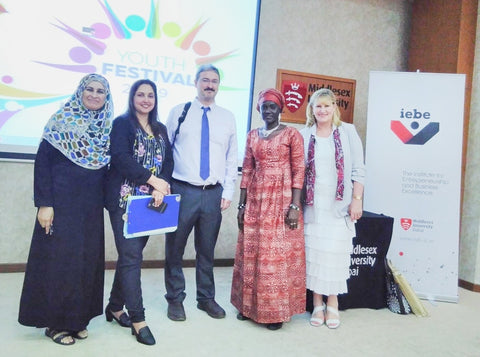 Sabeena Ahmed with Isatou Ceesay with the IEBE team at  The Middlesex University Dubai  Social Enterprise Showcase April 19