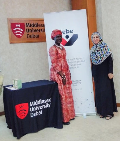 Sabeena Ahmed with Isatou Ceesay at  The Middlesex University Dubai  Social Enterprise Showcase April 18