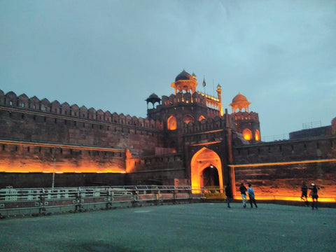 The Lal Qilla Red Fort Dehli, from afar at sunset visited April 2019